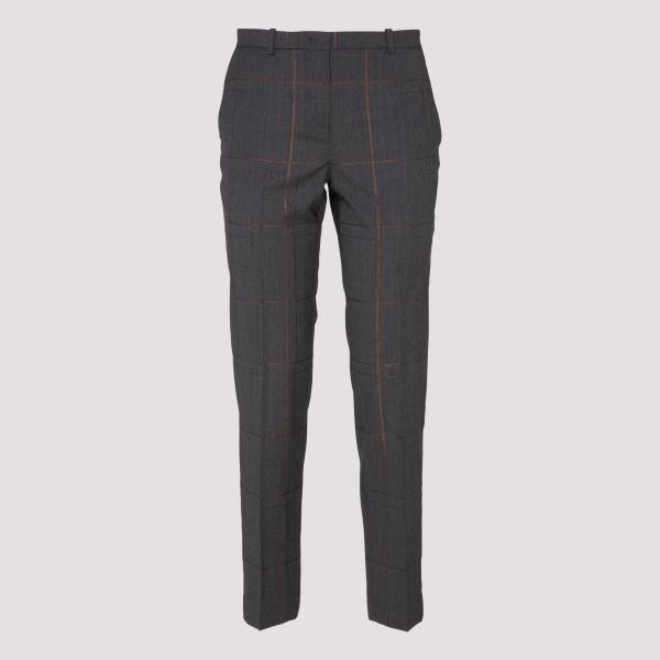 Check woven wool gray pants