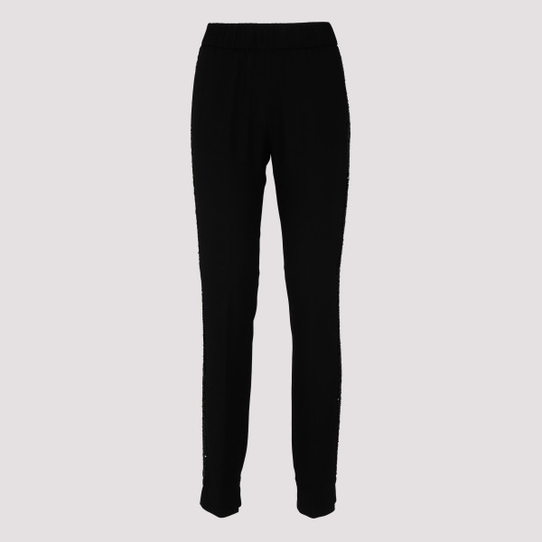 Black wool pants with side...