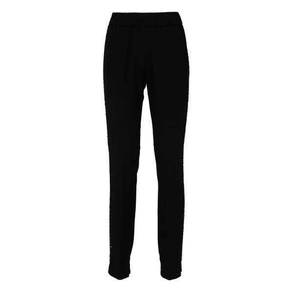 Black wool pants with side band