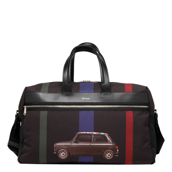 'Mini Stripe' Print Canvas Weekend Bag