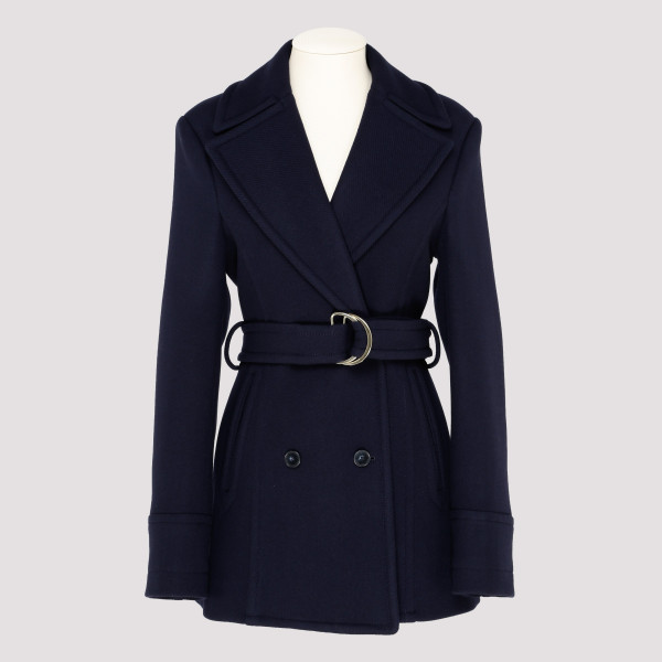 Blue wool belted coat
