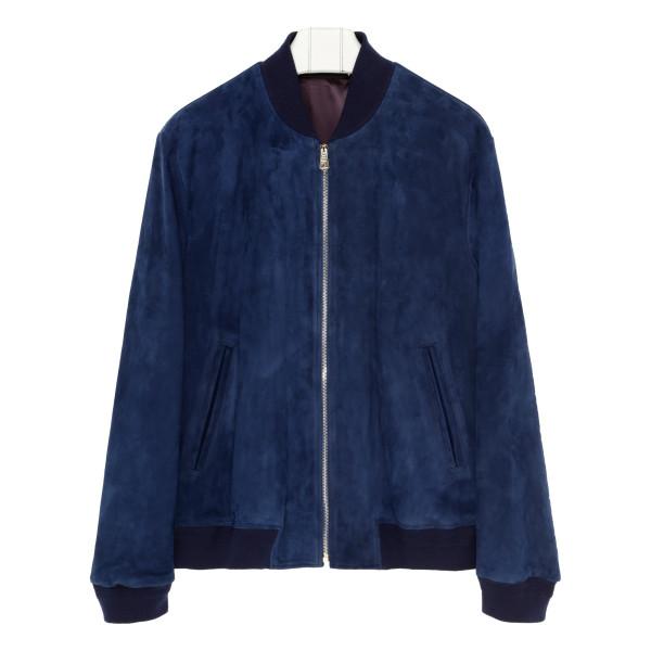 Blue suede blouson jacket
