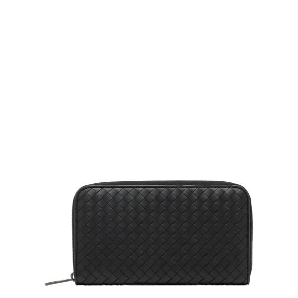 Intrecciato leather zip around wallet