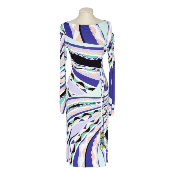 Signature-print stretch-jersey midi dress