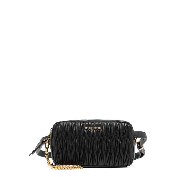 Black matelassé belt bag