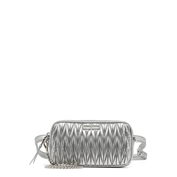 Silver matelassé belt bag