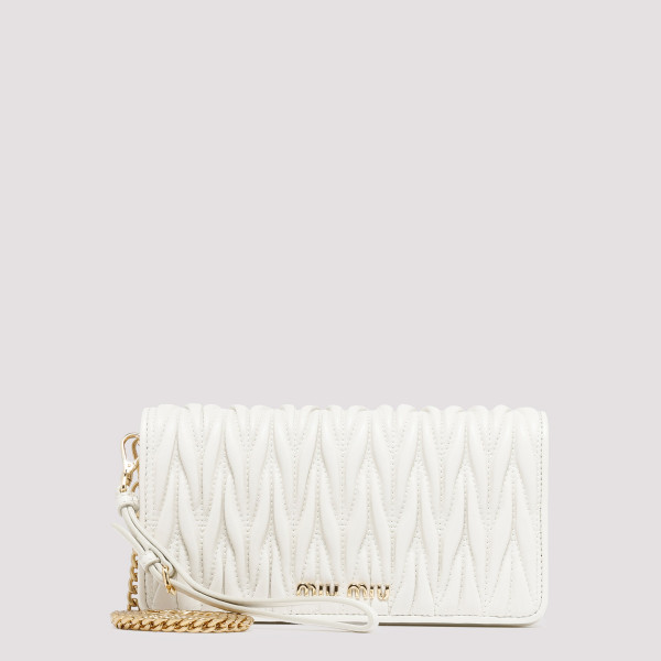 White matelassé clutch