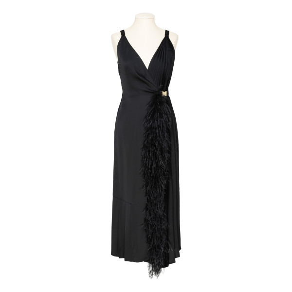 Black twill dress with feathers