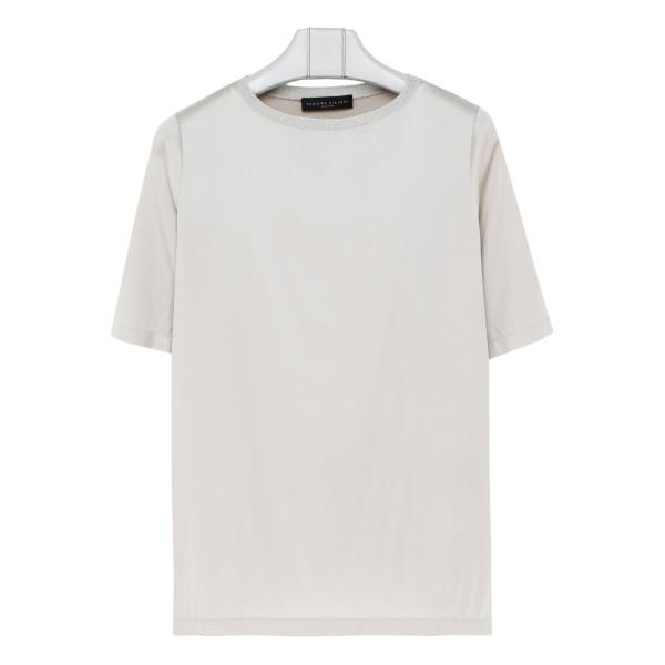 Pearl white silk-blend T-shirt