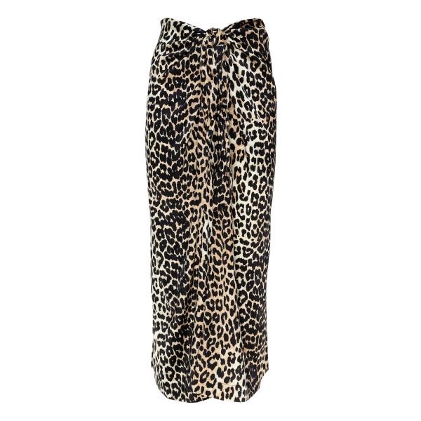Silk skirt with leopard print