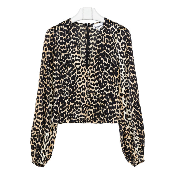 Silk blouse with leopard print