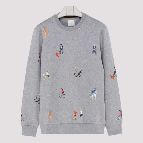 Melange gray cotton sweatshirt