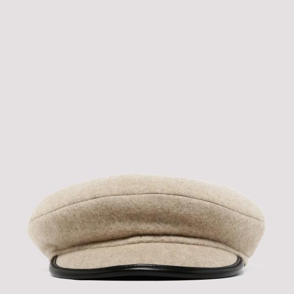 Beige wool baker hat