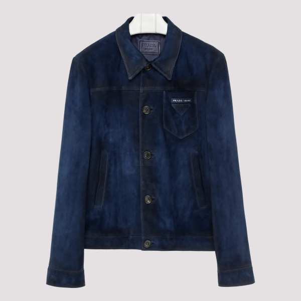 Blue leather button front jacket