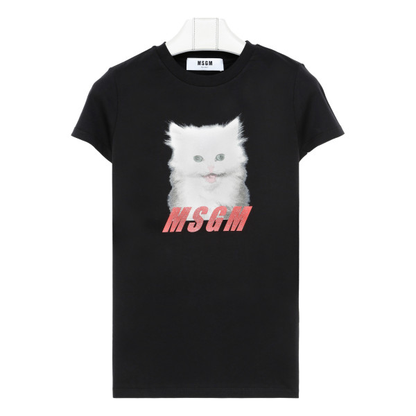 Black T-shirt with glitter cat