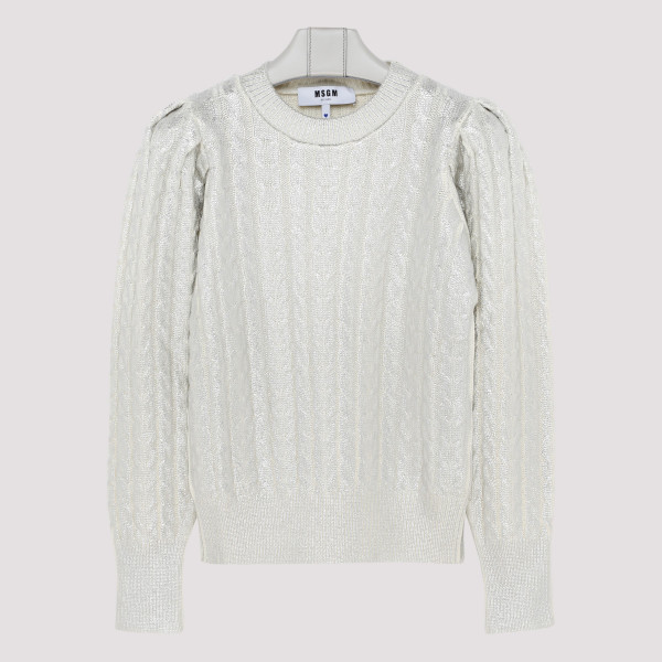 Silver sweater with puffed...