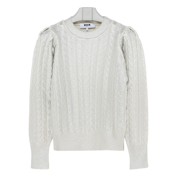Silver sweater with puffed sleeves