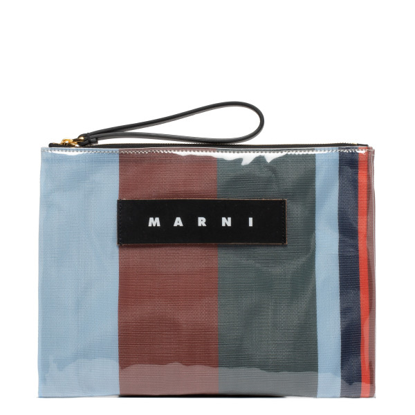 Multicolor glossy grip striped clutch