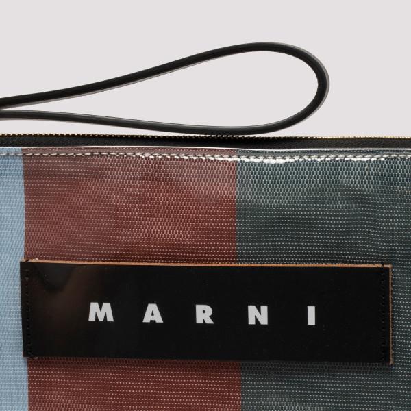 Multicolor glossy grip striped clutch