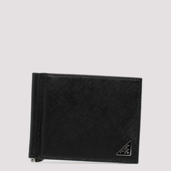 Money clip black leather...