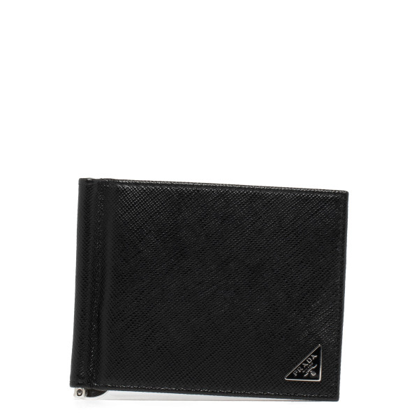 Money clip black leather wallet