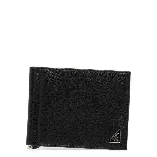 Money clip black leather wallet