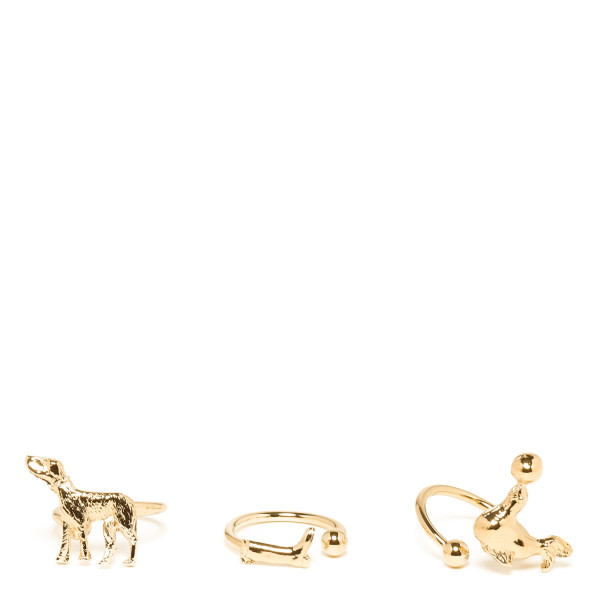 Golden animal rings