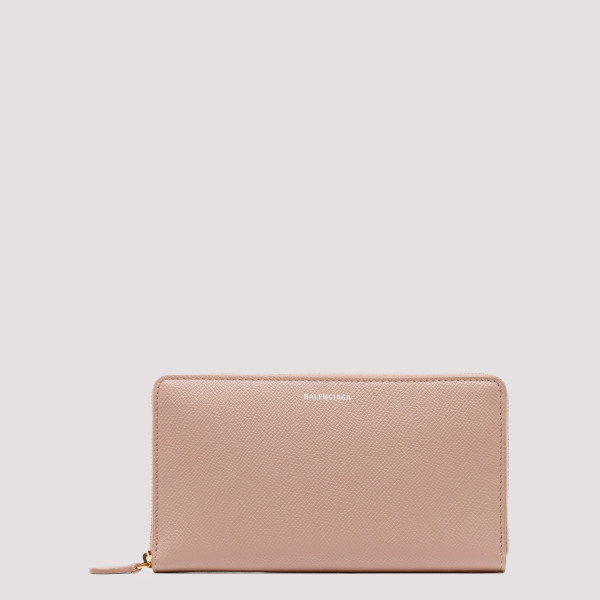 Powder pink leather wallet