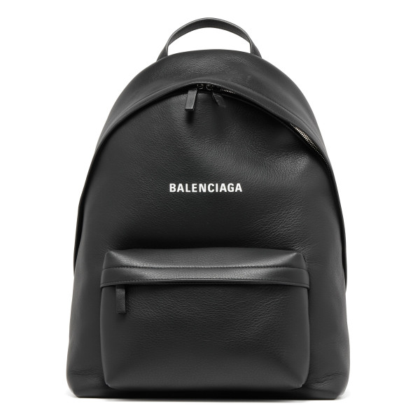 Everyday black leather backpack