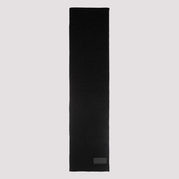 Black ribbed virgin wool scarf