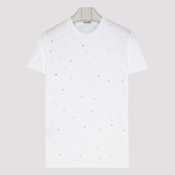 White T-shirt with crystal embellishment