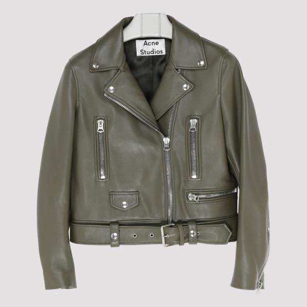 Olive green leather biker...