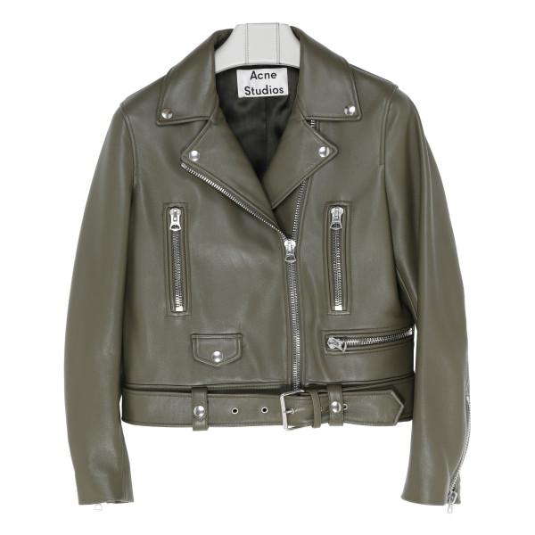 Olive green leather biker jacket