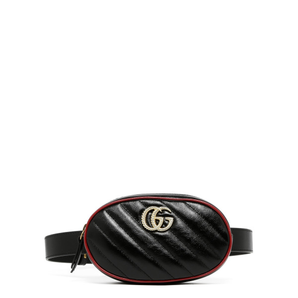 GG Marmont black leather belt bag