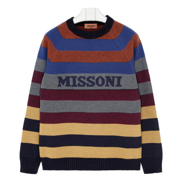 Multicolor striped sweater with logo