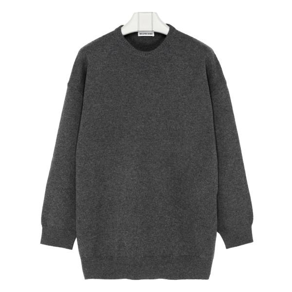 Gray Signature Logo Knit Sweater