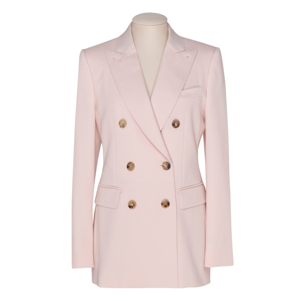 Pink wool double breast blazer