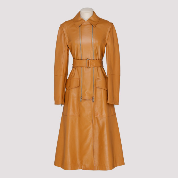 Brown Giorno leather trench...