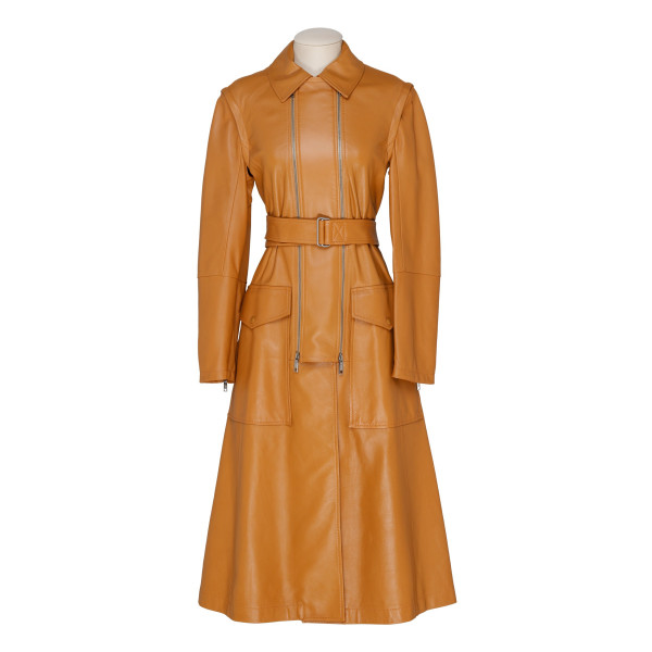 Brown Giorno leather trench coat