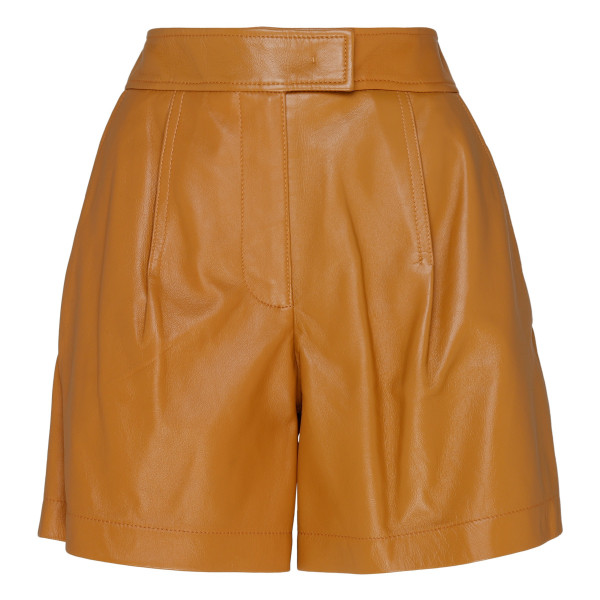 Brown Nappa leather shorts