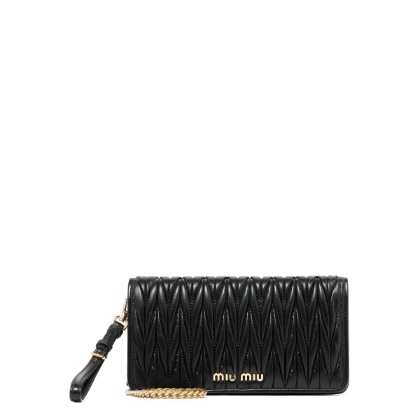 Black matelassé leather clutch