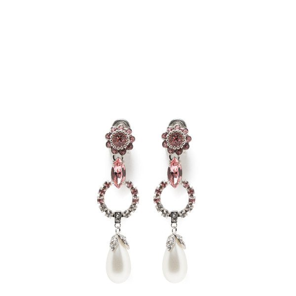 Crystal earrings with pearl drop