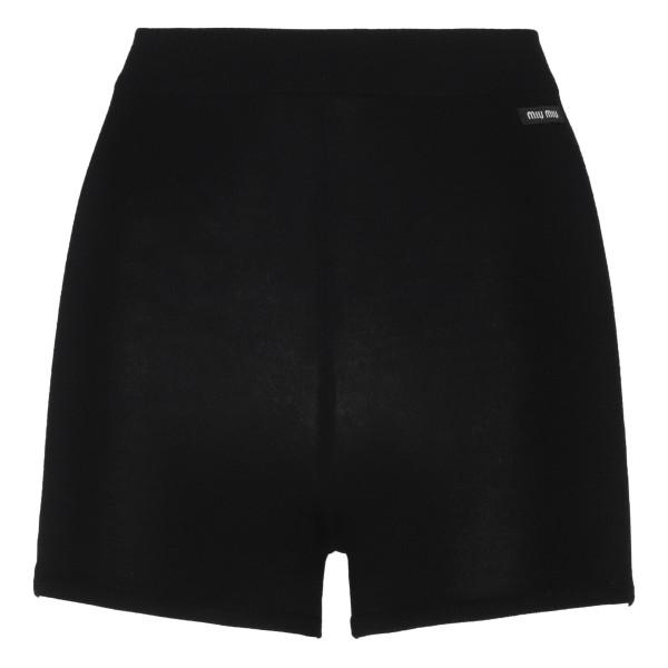 Black virgin wool shorts