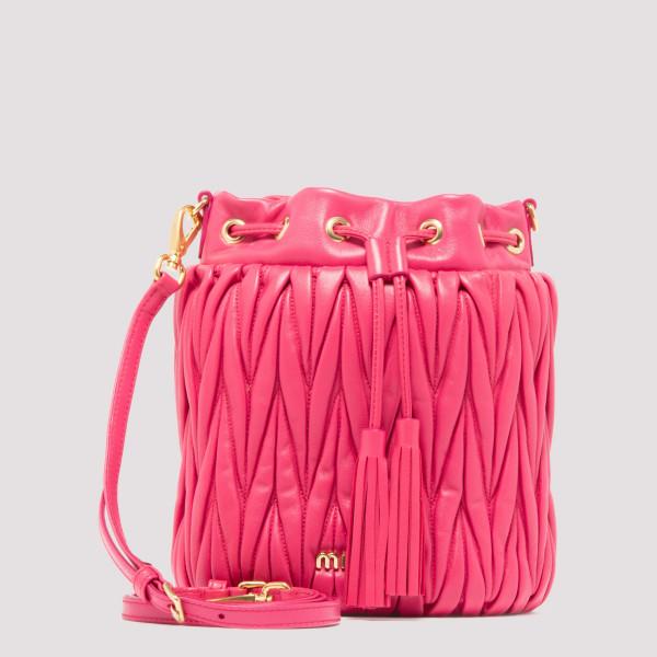 Shocking pink matelassé bucket bag