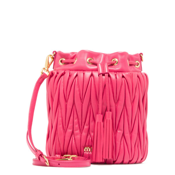 Shocking pink matelassé bucket bag