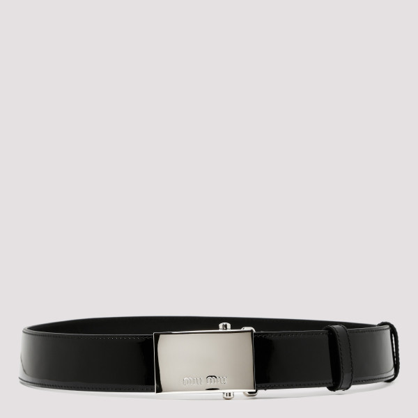 Black patent leather belt