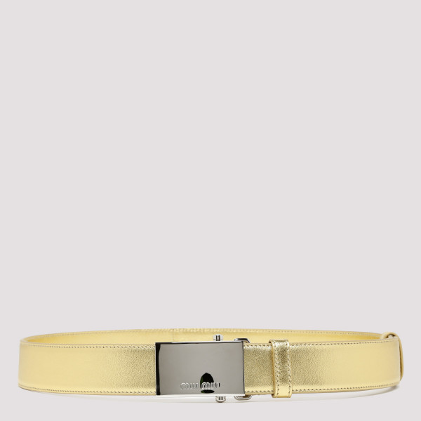 Metallic gold leather belt