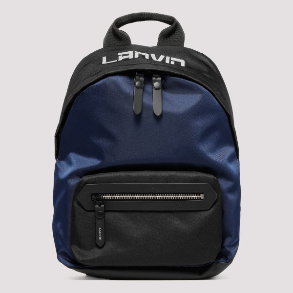 Black and blue zipped backpack