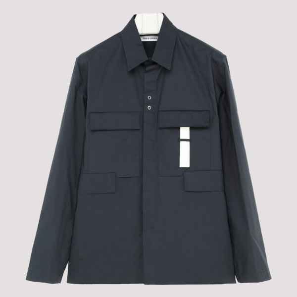 Blue cotton multipockets shirt