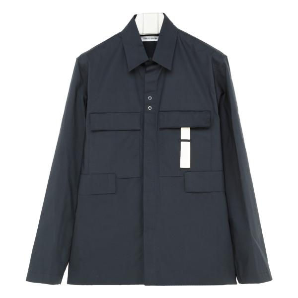 Blue cotton multipockets shirt